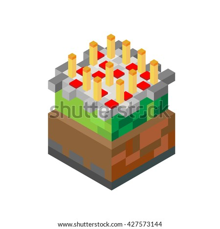 cake with candles in minecraft