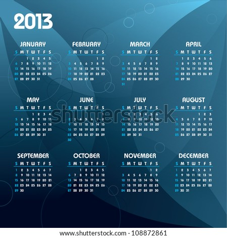 2013 Calendar. Abstract Background in eps10.