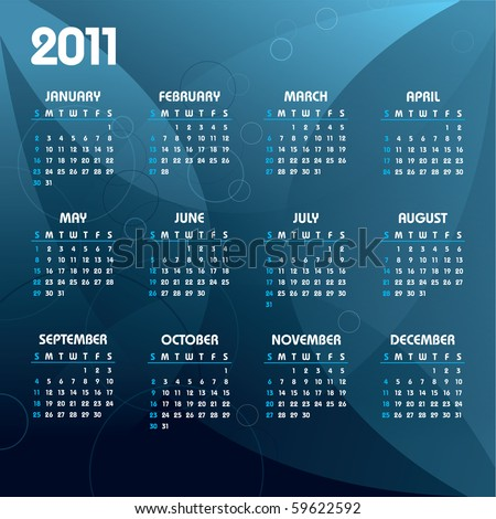 2011 Calendar. Abstract Background in eps10.