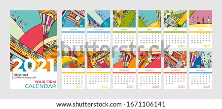2021 calendar abstract contemporary art vector set. Desk, screen, desktop months 2021, colorful 2021 calendar template, agenda pattern. Psychedelic sketched calendar, day planner. Set 12 month pages.