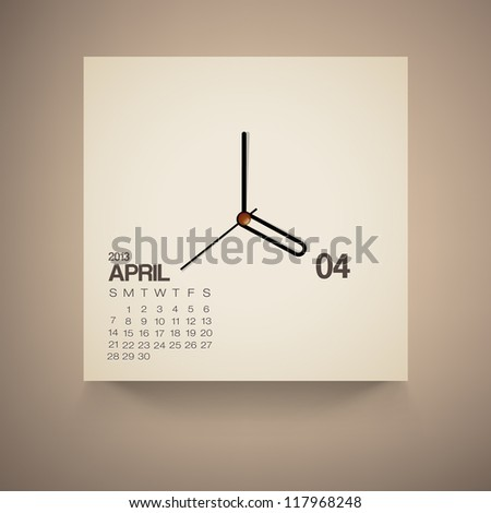 2013 Calendar April Clock Design Vector