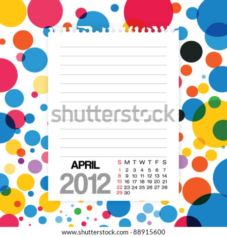 2012 Calendar April Note paper on Colorful Background Vector