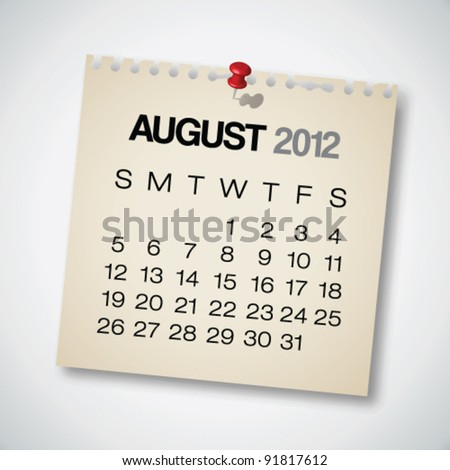 2012 Calendar August Old Torn Paper Vector