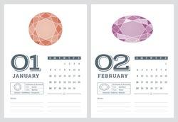 2014 calendar, birthstones series 2 of 7