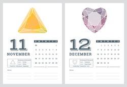 2014 calendar, birthstones series 7 of 7