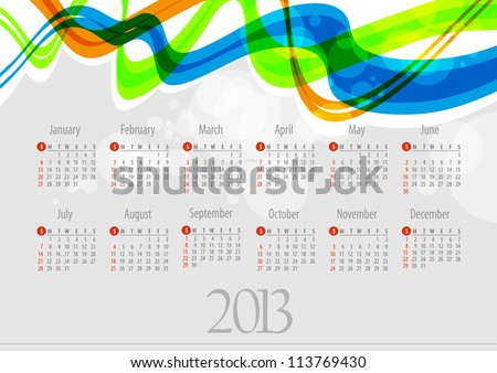 2013 Calendar.. colorful abstract background. Vector Illustration
