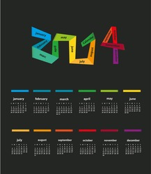 2014 calendar ( dark background )