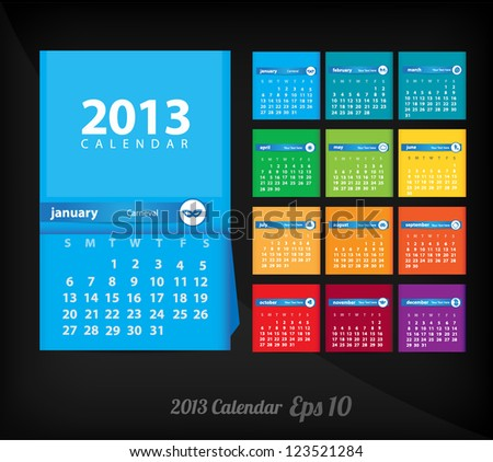 2013 calendar ( dark background )