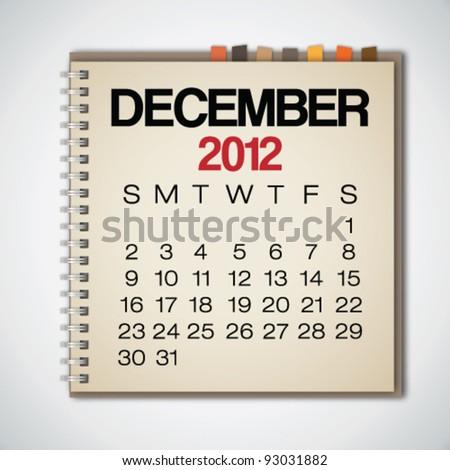 2012 Calendar December On Old Notebook Vector