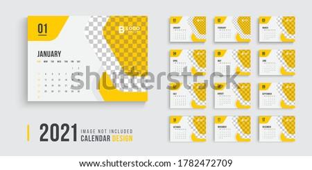 2021 calendar design, calender design for 202, professional desk calendar design week start on sunday, yellow color clean desk calendar design.