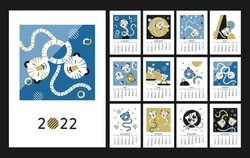 2022 calendar design. Chinese New Year of the Tiger. Week starts on Sunday. Concept with illustrations of asian holidays. Editable vector template of calender 2022 with blue, gold, black colors.