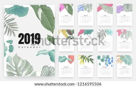 2019 calendar design  set of