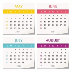 2014 calendar design - set of four months (may, june, july, august)