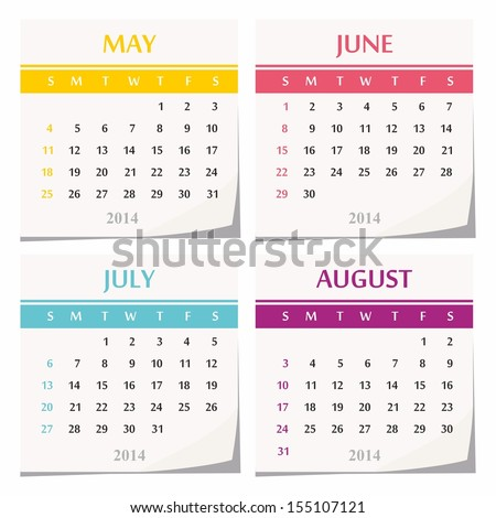 2014 Calendar Design - Set Of Four Months (May, June, July ...