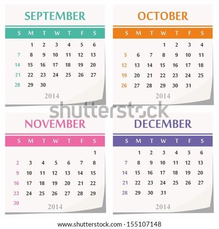 October November December 2014 Calendar   New Calendar Template Site