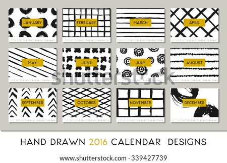 stock-vector--calendar-design-template-each-card-is-scalable-to-a-size-printable-abstract-brush-strokes
