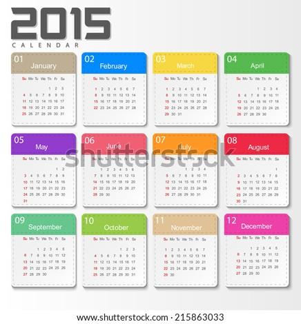 2015 Calendar Design Template Week Start With Sunday