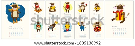 2021 calendar design with bull with hobbies in different seasons of the year. Calendar design concept with kawaii cartoon bull, cute bull or cow, new year symbol. Set of 12 months 2021 pages.