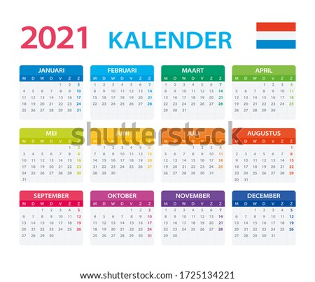 2021 calendar dutch   vector
