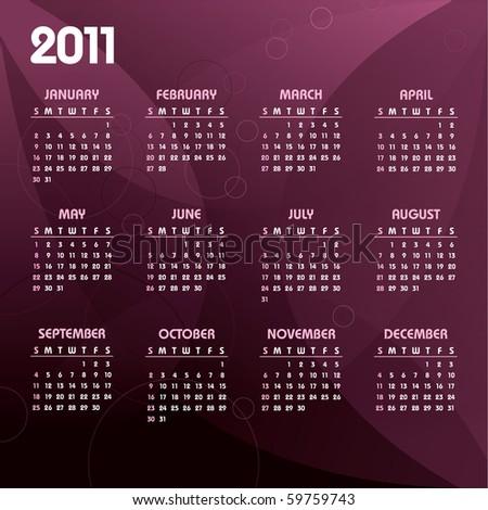 2011 Calendar. eps10.