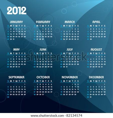 2012 Calendar. Eps10.