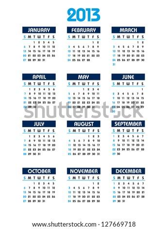 2013 Calendar. Eps10 Format.