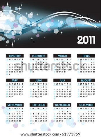 2011 Calendar. eps10. Illustration.