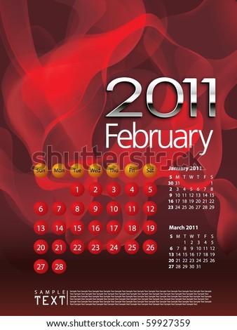 2011 calendar february. 2011 calendar february. stock