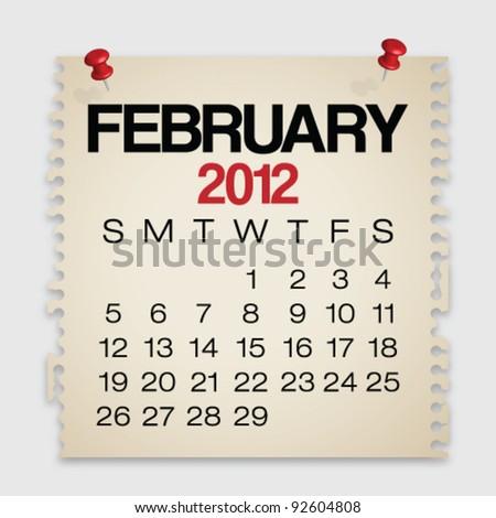 2012 Calendar February Old Torn Paper Vector