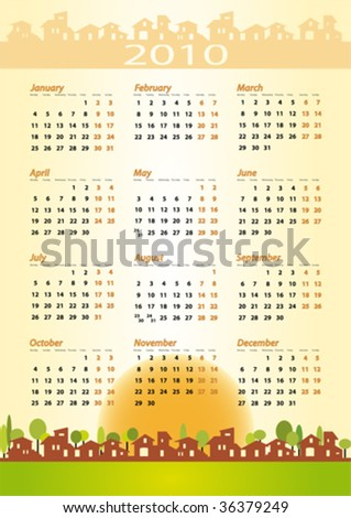 2010 Calendar for real estate, architecture, construction company. Warm tones, houses silhouettes