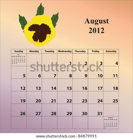 2012 Calendar for the month of August