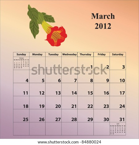 2012 Calendar for the month of March