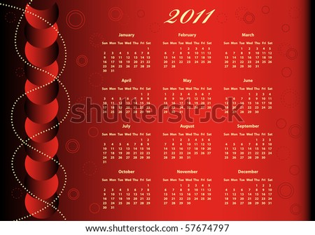 2011 calendar red. stock vector : 2011 Calendar full year on a red background decorated with