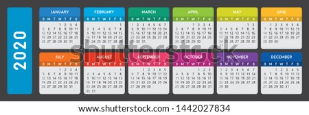 2020 calendar. Horizontal calendar template on dark background. Editable vector file available. English and sunday to monday version.