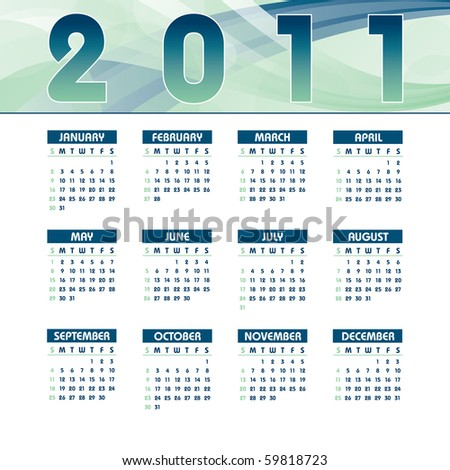 2011 Calendar. Illustration in eps10 format.