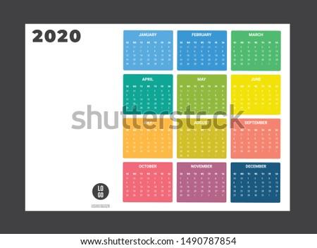 2020 Calendar - illustration. Template Mock up