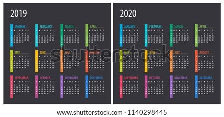 2019 2020 Calendar - illustration. Template. Mock up Week starts Sunday