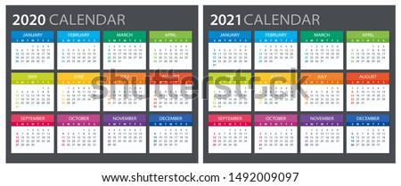 2020 2021 Calendar - illustration. Template. Mock up. Week starts Sunday ストックフォト ©
