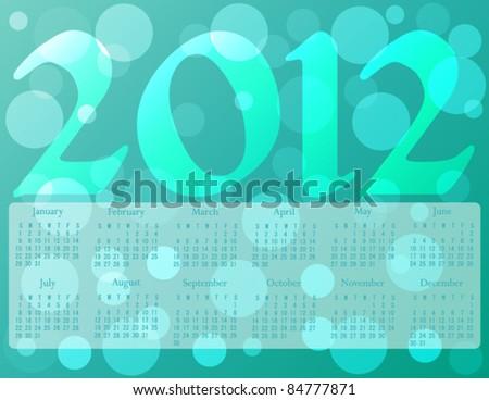 2012 calendar in ocean colors