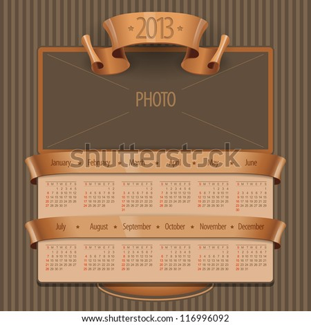 2013 Calendar in the old style and space for a picture or photo. Vector Illustration