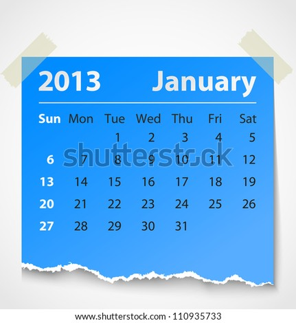 2013 calendar january colorful torn paper. Vector illustration