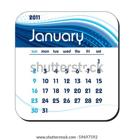 2011 Calendar. January. eps10.