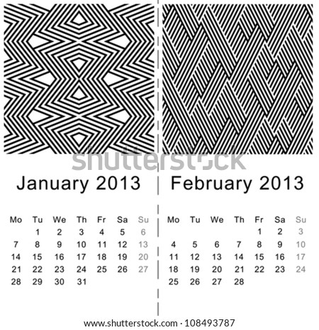 2013 calendar(january&february) - abstract pattern