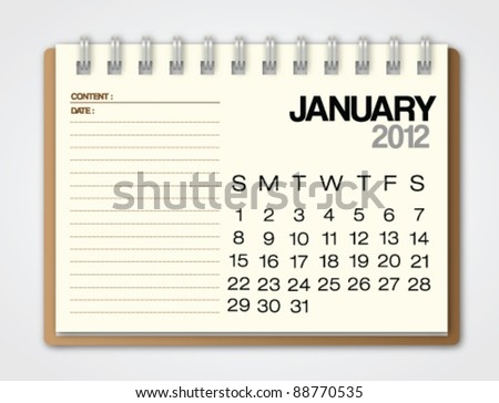 2012 Calendar January notebook vector