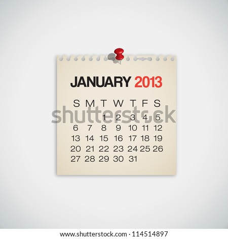 2013 Calendar January Old Torn Paper Vector