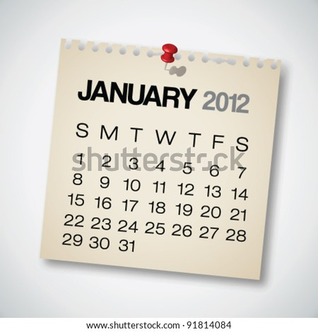 2012 Calendar January Old Torn Paper Vector
