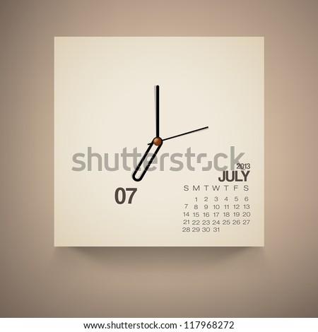 2013 Calendar July Clock Design Vector