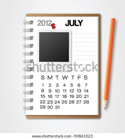 2012 Calendar July Notebook Vector
