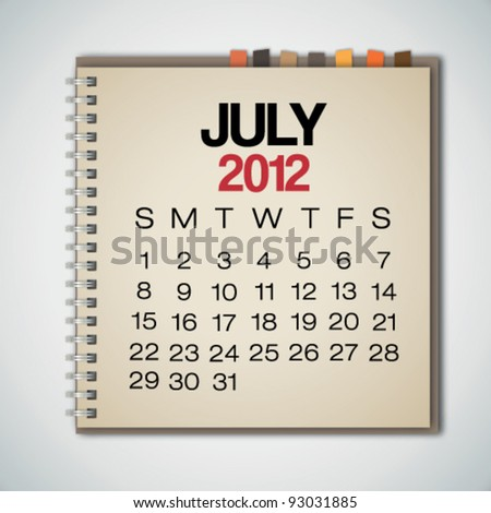 2012 Calendar July On Old Notebook Vector