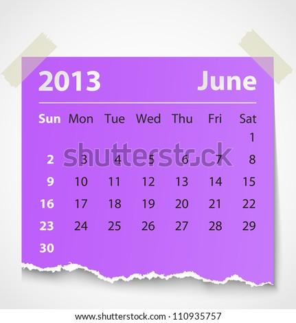 2013 calendar june colorful torn paper. Vector illustration